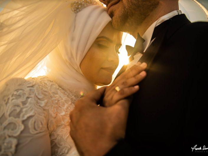 Rukiye ve Muhammed Hijab outdoor outside bride and groom wedding shooting